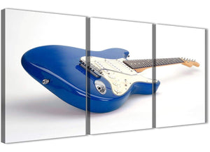 Next Set of 3 Piece Blue White Fender Electric Guitar - Dining Room Canvas Wall Art Decor - 3447 - 126cm Set of Prints
