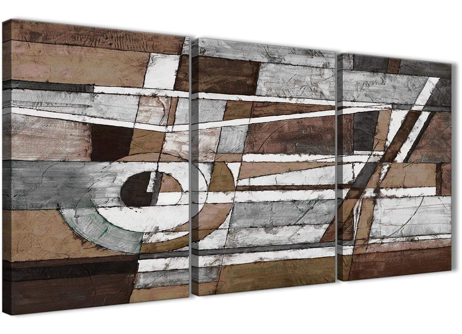 Next Set of 3 Panel Brown Beige White Painting Bedroom Canvas Wall Art Decor - Abstract 3407 - 126cm Set of Prints