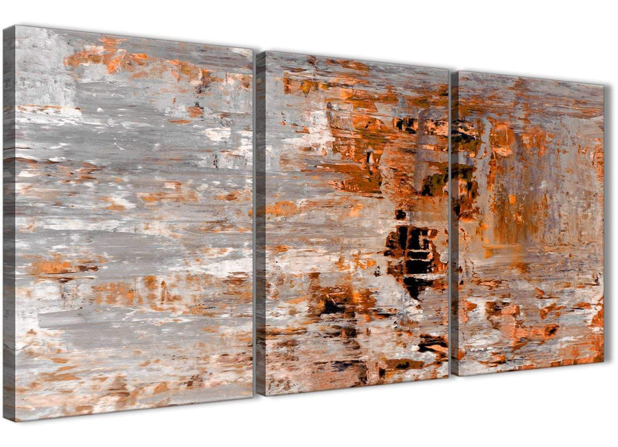 Next Set of 3 Panel Burnt Orange Grey Painting Kitchen Canvas Wall Art Accessories - Abstract 3415 - 126cm Set of Prints