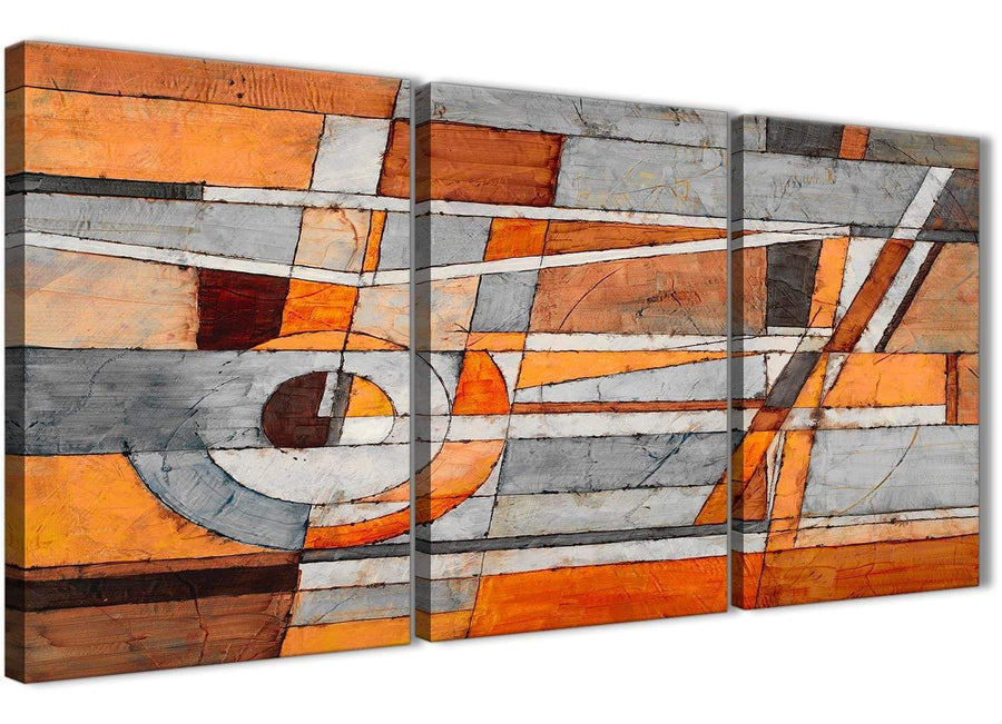 Next Set of 3 Piece Burnt Orange Grey Painting Office Canvas Pictures Accessories - Abstract 3405 - 126cm Set of Prints