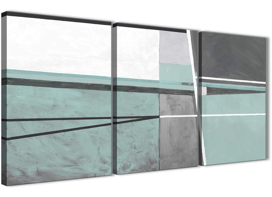 Next Set of 3 Panel Duck Egg Blue Grey Painting Living Room Canvas Pictures Decor - Abstract 3396 - 126cm Set of Prints
