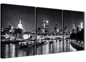 Next Set of 3 Piece Landscape Canvas Wall Art River Thames Skyline of London - 3430 Black White Grey 126cm Set of Prints