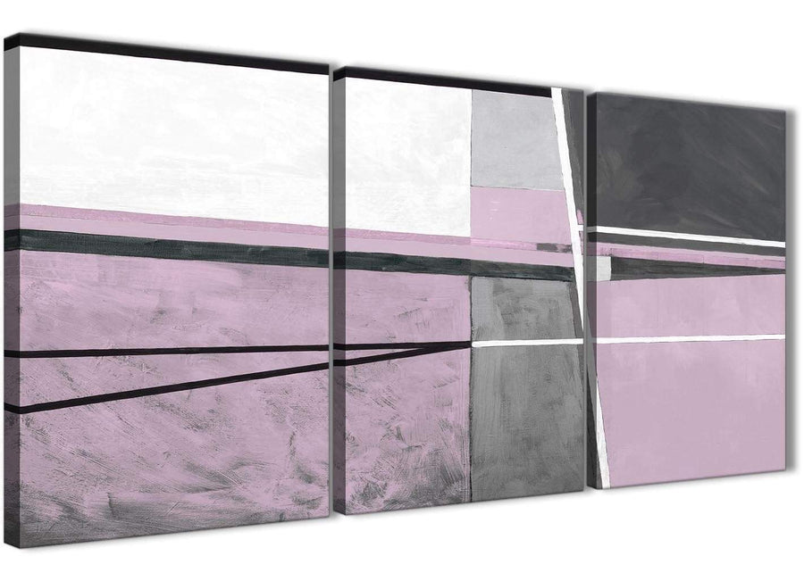 Next Set of 3 Piece Lilac Grey Painting Living Room Canvas Wall Art Accessories - Abstract 3395 - 126cm Set of Prints