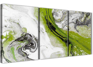 Next Set of 3 Piece Lime Green and Grey Swirl Kitchen Canvas Wall Art Accessories - Abstract 3464 - 126cm Set of Prints