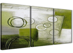 Next Set of 3 Piece Lime Green Painting Kitchen Canvas Wall Art Accessories - Abstract 3434 - 126cm Set of Prints