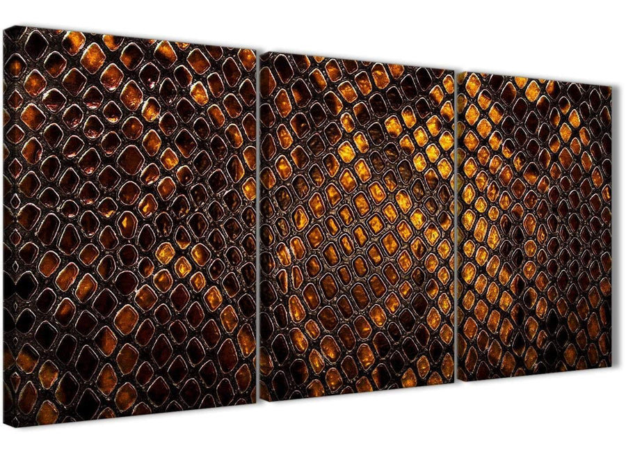Next Set of 3 Panel Mustard Gold Snakeskin Animal Print Living Room Canvas Wall Art Accessories - Abstract 3474 - 126cm Set of Prints