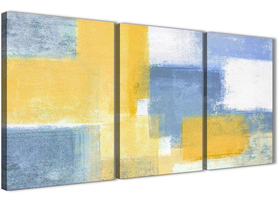 Next Set of 3 Panel Mustard Yellow Blue Kitchen Canvas Wall Art Accessories - Abstract 3371 - 126cm Set of Prints