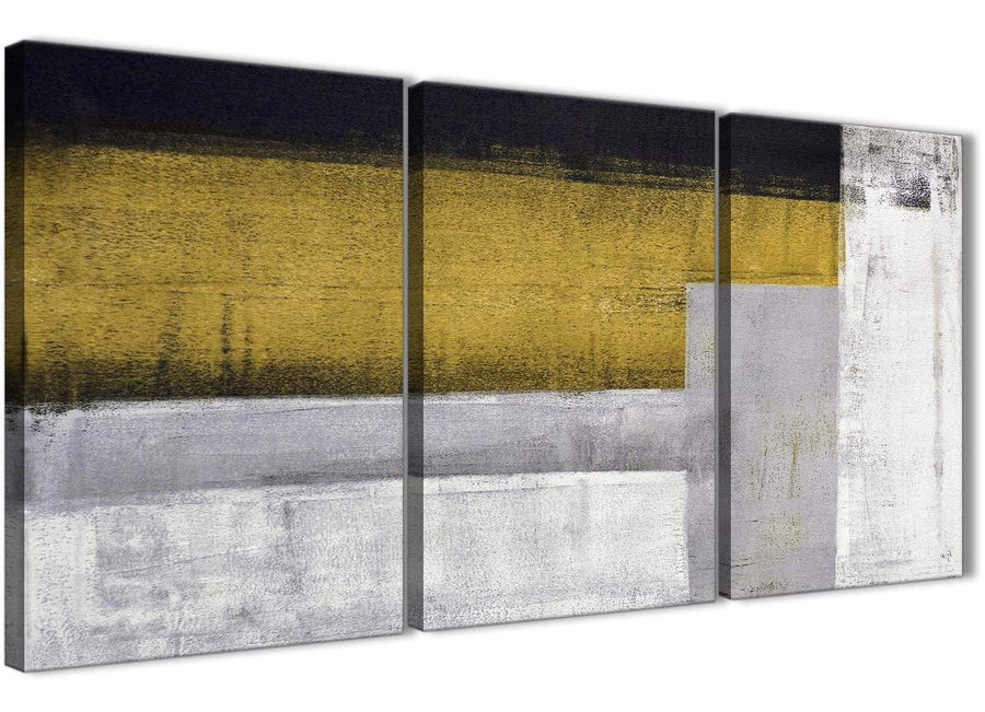 Next Set of 3 Piece Mustard Yellow Grey Painting Office Canvas Wall Art Decor - Abstract 3425 - 126cm Set of Prints