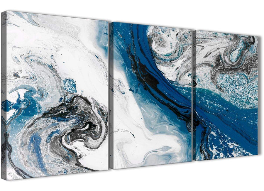 Next Set of 3 Piece Blue and Grey Swirl Dining Room Canvas Pictures Decor - Abstract 3465 - 126cm Set of Prints