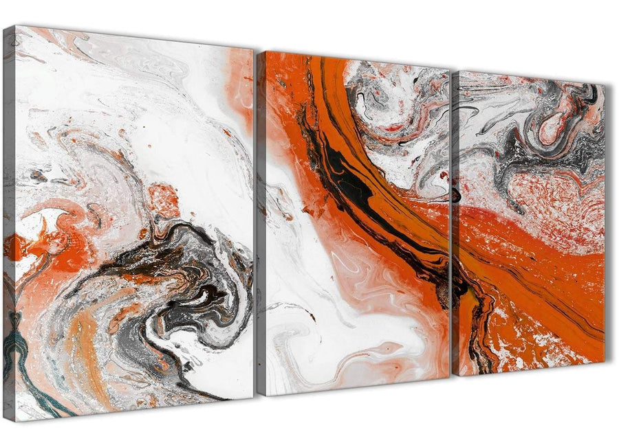 Next Set of 3 Panel Orange and Grey Swirl Dining Room Canvas Pictures Decor - Abstract 3461 - 126cm Set of Prints