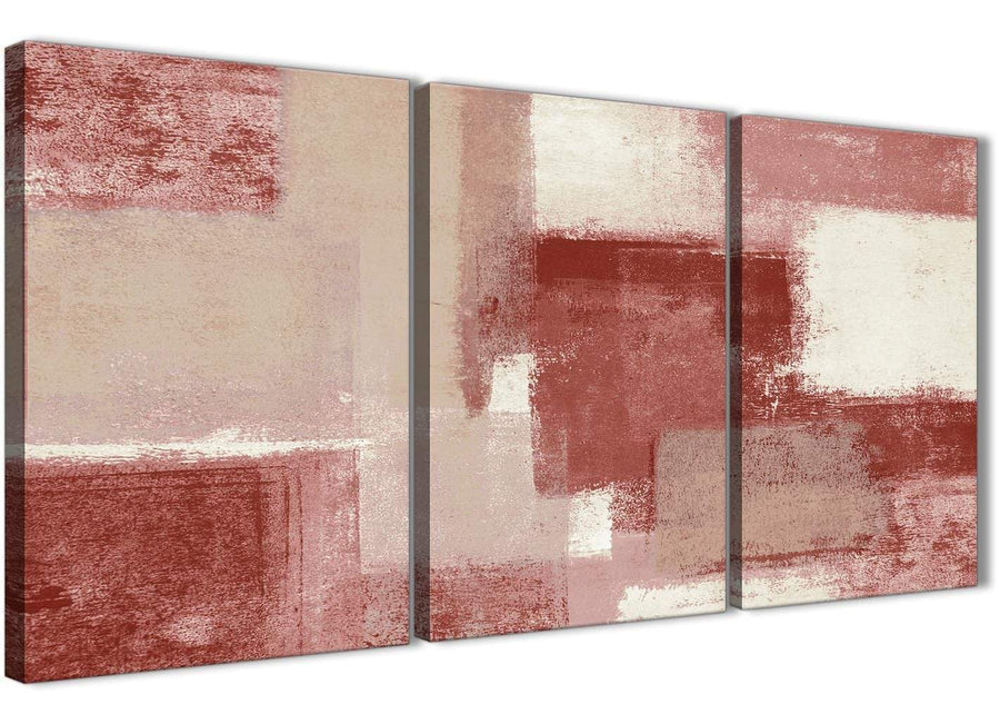 Next Set of 3 Piece Red and Cream Kitchen Canvas Pictures Decor - Abstract 3370 - 126cm Set of Prints