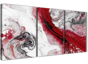 Next Set of 3 Panel Red and Grey Swirl Hallway Canvas Wall Art Accessories - Abstract 3467 - 126cm Set of Prints