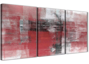 Next Set of 3 Panel Red Black White Painting Living Room Canvas Pictures Accessories - Abstract 3397 - 126cm Set of Prints