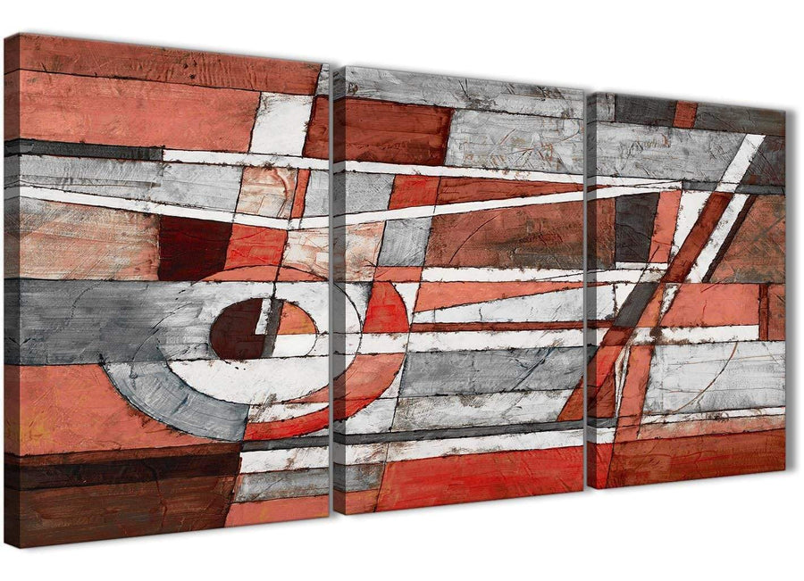 Next Set of 3 Piece Red Grey Painting Kitchen Canvas Pictures Accessories - Abstract 3401 - 126cm Set of Prints