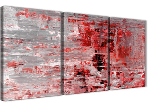 Next Set of 3 Panel Red Grey Painting Kitchen Canvas Wall Art Accessories - Abstract 3414 - 126cm Set of Prints