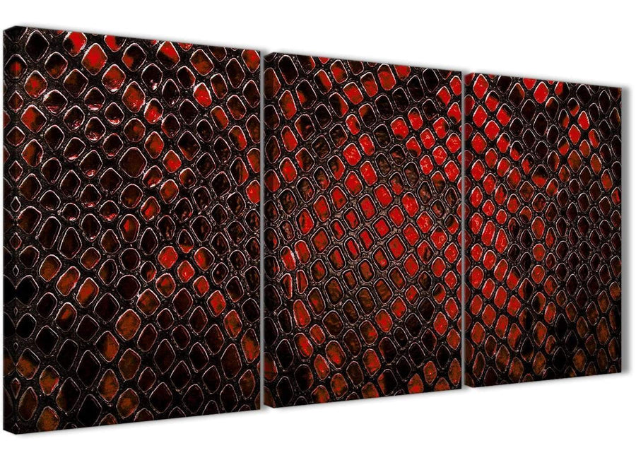 Next Set of 3 Panel Red Snakeskin Animal Print Kitchen Canvas Pictures Accessories - Abstract 3476 - 126cm Set of Prints