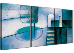 Next Set of 3 Panel Teal Cream Painting Kitchen Canvas Wall Art Accessories - Abstract 3417 - 126cm Set of Prints