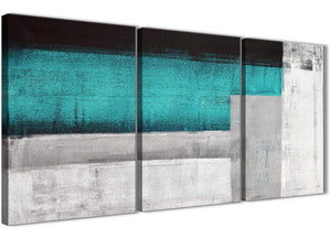 Next Set of 3 Piece Teal Turquoise Grey Painting Dining Room Canvas Pictures Accessories - Abstract 3429 - 126cm Set of Prints