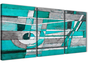 Next Set of 3 Piece Turquoise Grey Painting Kitchen Canvas Pictures Accessories - Abstract 3403 - 126cm Set of Prints