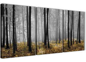 Next Set of 3 Panel Yellow and Grey Forest Woodland Trees Dining Room Canvas Wall Art Accessories - 3384 - 126cm Set of Prints