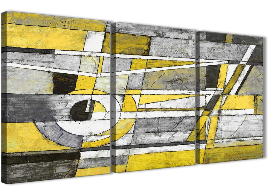 Next Set of 3 Piece Yellow Grey Painting Kitchen Canvas Pictures Accessories - Abstract 3400 - 126cm Set of Prints