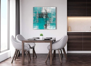 Next Teal Black White Painting Abstract Dining Room Canvas Pictures Decorations 1s399l - 79cm Square Print