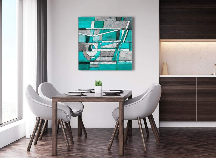 Next Turquoise Grey Painting Abstract Hallway Canvas Wall Art Accessories 1s403l - 79cm Square Print