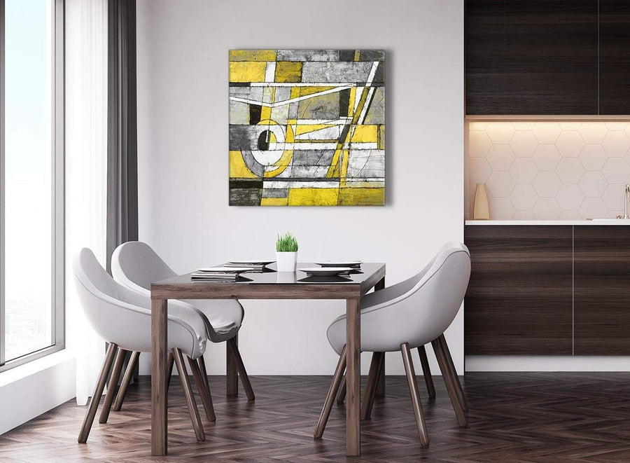 Next Yellow Grey Painting Abstract Bedroom Canvas Pictures Accessories 1s400l - 79cm Square Print