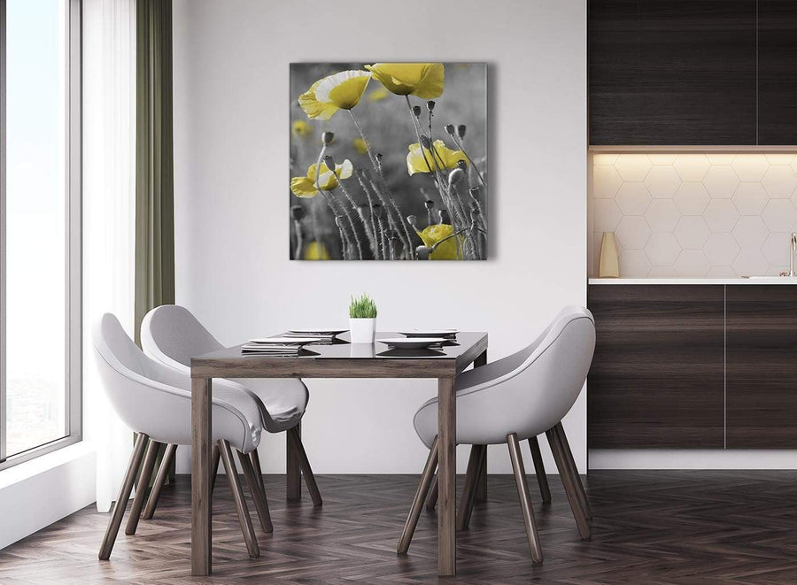 Next Yellow Grey Poppy Flower - Poppies Floral Canvas Abstract Hallway Canvas Pictures Decorations 1s258l - 79cm Square Print