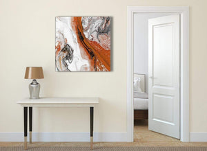 Orange and Grey Swirl Abstract Bedroom Canvas Pictures Decor 1s461l - 79cm Square Print