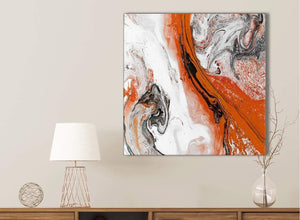 Orange and Grey Swirl Bathroom Canvas Wall Art Accessories - Abstract 1s461s - 49cm Square Print