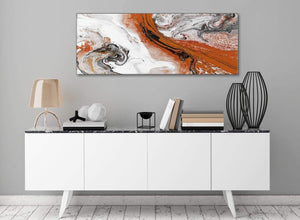 Orange and Grey Swirl Bedroom Canvas Wall Art Accessories - Abstract 1461 - 120cm Print