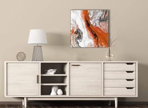 Orange and Grey Swirl Stairway Canvas Pictures Decor - Abstract 1s461m - 64cm Square Print