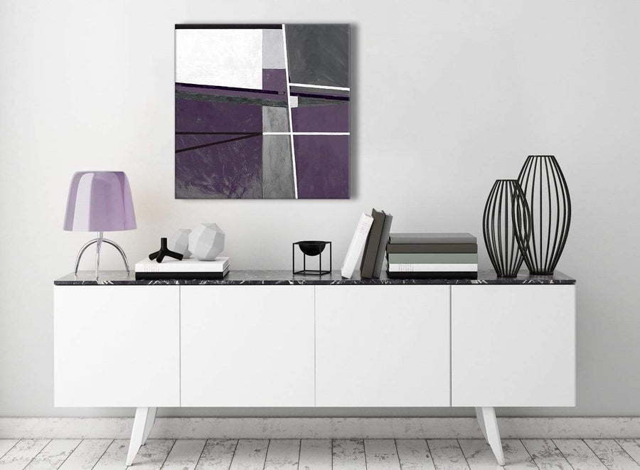 Contemporary Aubergine Grey Painting Kitchen Canvas Pictures Decorations - Abstract 1s392m - 64cm Square Print