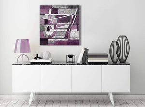 Contemporary Aubergine Grey White Painting Kitchen Canvas Wall Art Decorations - Abstract 1s406m - 64cm Square Print