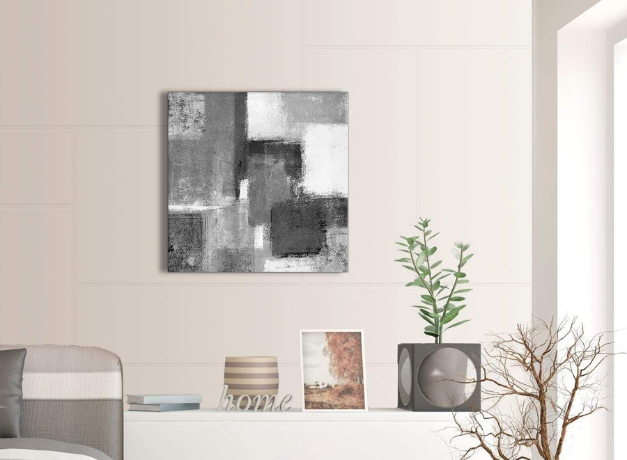 Contemporary Black White Grey Hallway Canvas Pictures Decor - Abstract 1s368m - 64cm Square Print