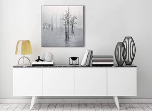 Contemporary Black White Grey Tree Landscape Painting Stairway Canvas Wall Art Decorations - 1s416m - 64cm Square Print