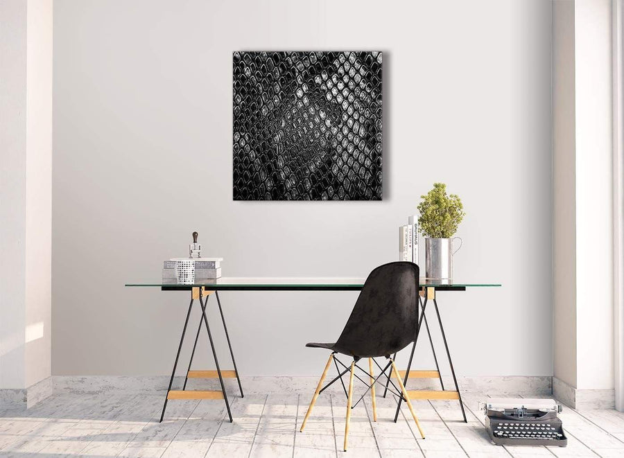 Contemporary Black White Snakeskin Animal Print Stairway Canvas Wall Art Decorations - Abstract 1s510m - 64cm Square Print