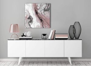 Contemporary Blush Pink and Grey Swirl Kitchen Canvas Pictures Decor - Abstract 1s463m - 64cm Square Print