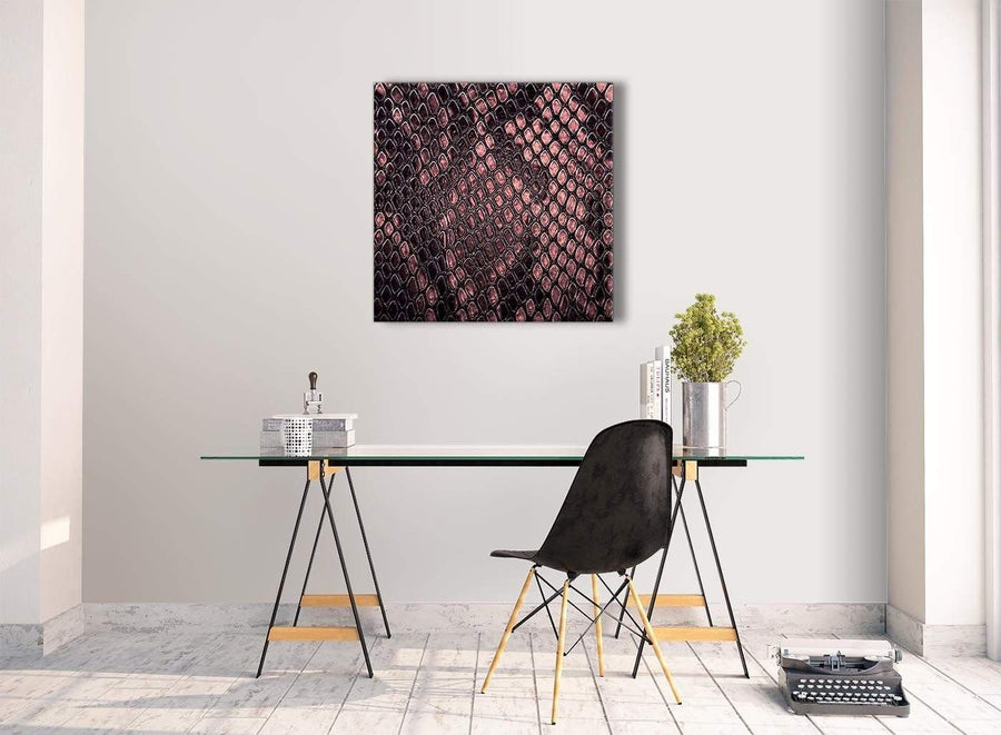Contemporary Blush Pink Snakeskin Animal Print Kitchen Canvas Pictures Decorations - Abstract 1s473m - 64cm Square Print