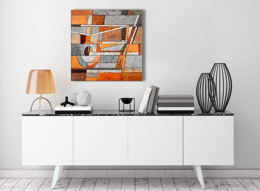 Contemporary Burnt Orange Grey Painting Kitchen Canvas Pictures Decorations - Abstract 1s405m - 64cm Square Print