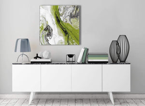 Contemporary Lime Green and Grey Swirl Living Room Canvas Wall Art Decorations - Abstract 1s464m - 64cm Square Print