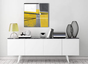 Contemporary Mustard Yellow Grey Painting Hallway Canvas Pictures Decor - Abstract 1s388m - 64cm Square Print