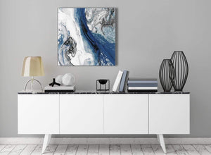 Contemporary Blue and Grey Swirl Hallway Canvas Wall Art Decorations - Abstract 1s465m - 64cm Square Print