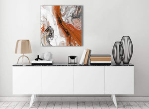 Contemporary Orange and Grey Swirl Stairway Canvas Pictures Decor - Abstract 1s461m - 64cm Square Print