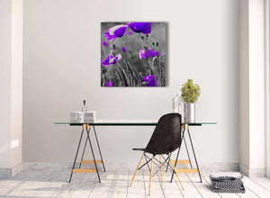 Contemporary Purple Poppy Grey Black White Flower Floral Living Room Canvas Pictures Decorations - Abstract 1s136m - 64cm Square Print