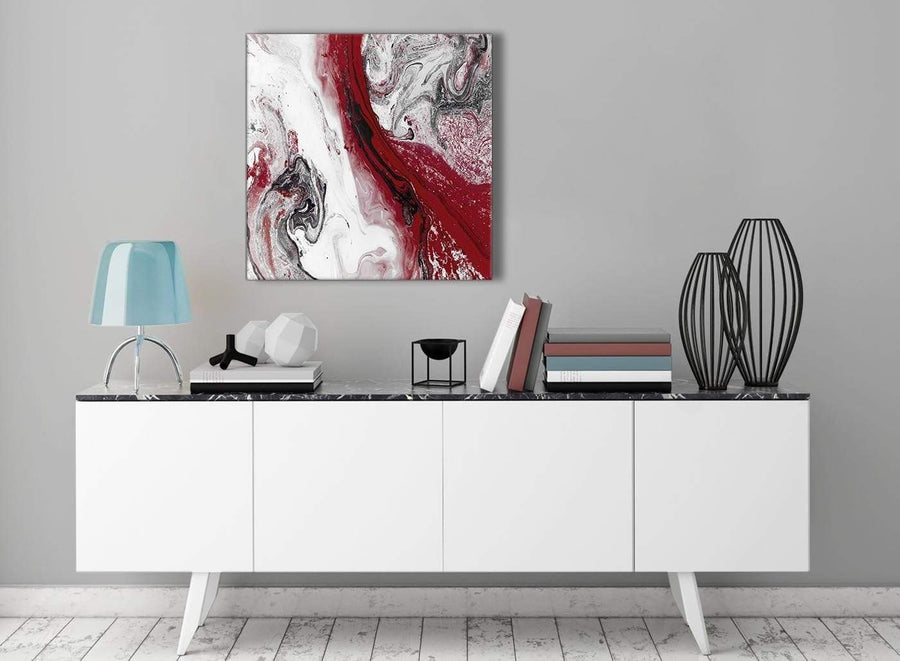 Contemporary Red and Grey Swirl Hallway Canvas Pictures Decorations - Abstract 1s467m - 64cm Square Print