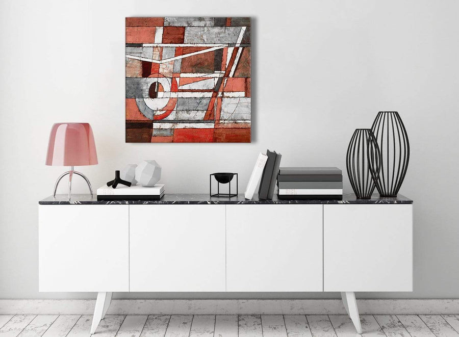 Contemporary Red Grey Painting Hallway Canvas Wall Art Decor - Abstract 1s401m - 64cm Square Print