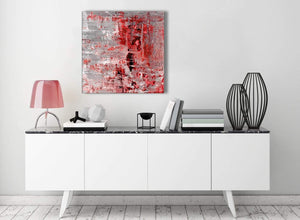 Contemporary Red Grey Painting Living Room Canvas Wall Art Decor - Abstract 1s414m - 64cm Square Print