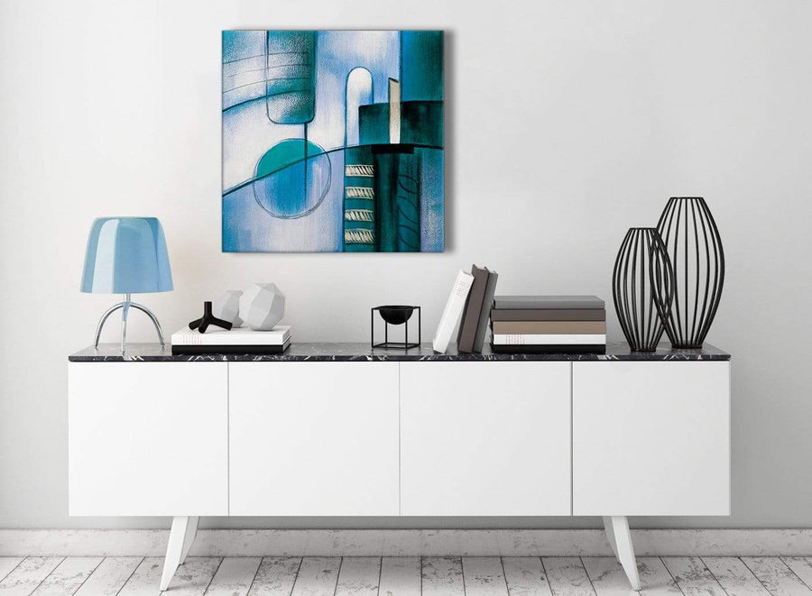 Contemporary Teal Cream Painting Living Room Canvas Pictures Decor - Abstract 1s417m - 64cm Square Print